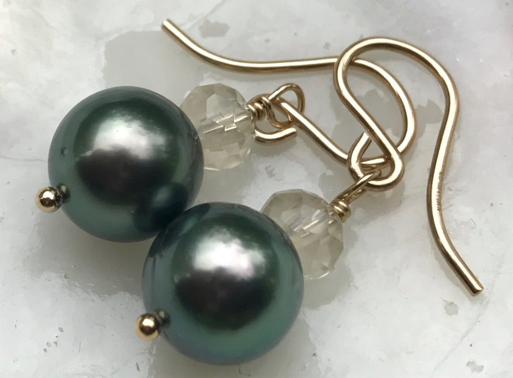 Bright Green Tahitian Pearl & Oregon Sunstone Earrings on Gold