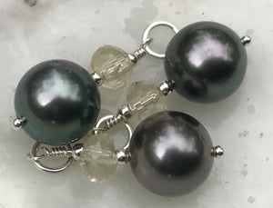 Dark Purple-Green Tahitian Pearl & Oregon Sunstone Pendant On Silver