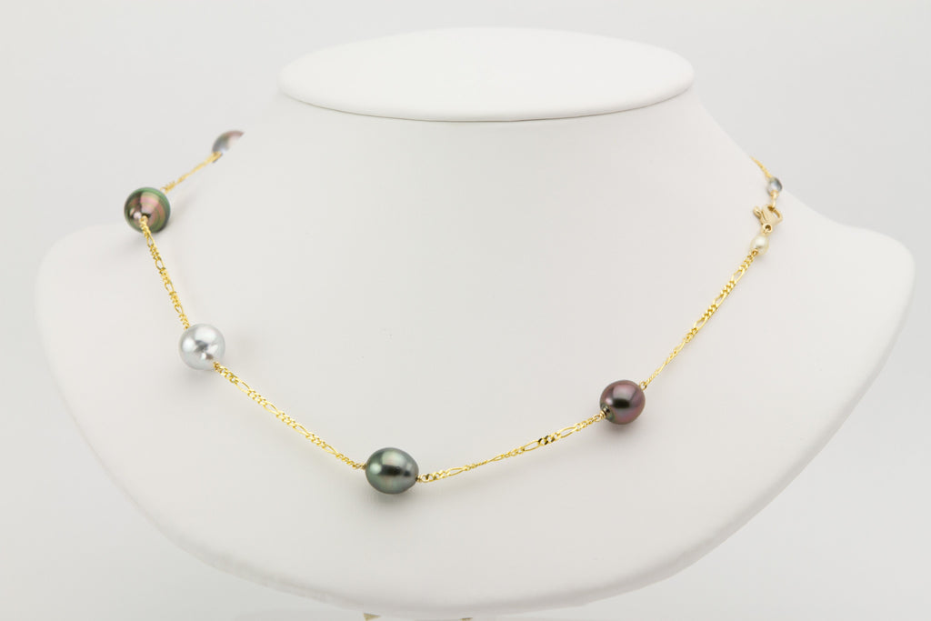 Tahitian pearl multi-color Tin Cup necklace on 14k Figaro chain