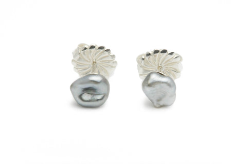 Silvery Tahitian keshi pearl stud earrings
