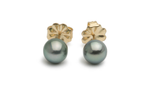 Green Tahitian pearl stud earrings on gold filled