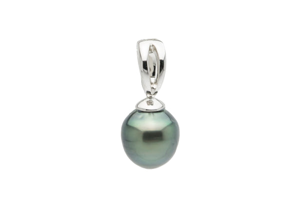 Silvery green semi-baroque Tahitian pearl enhance pendant