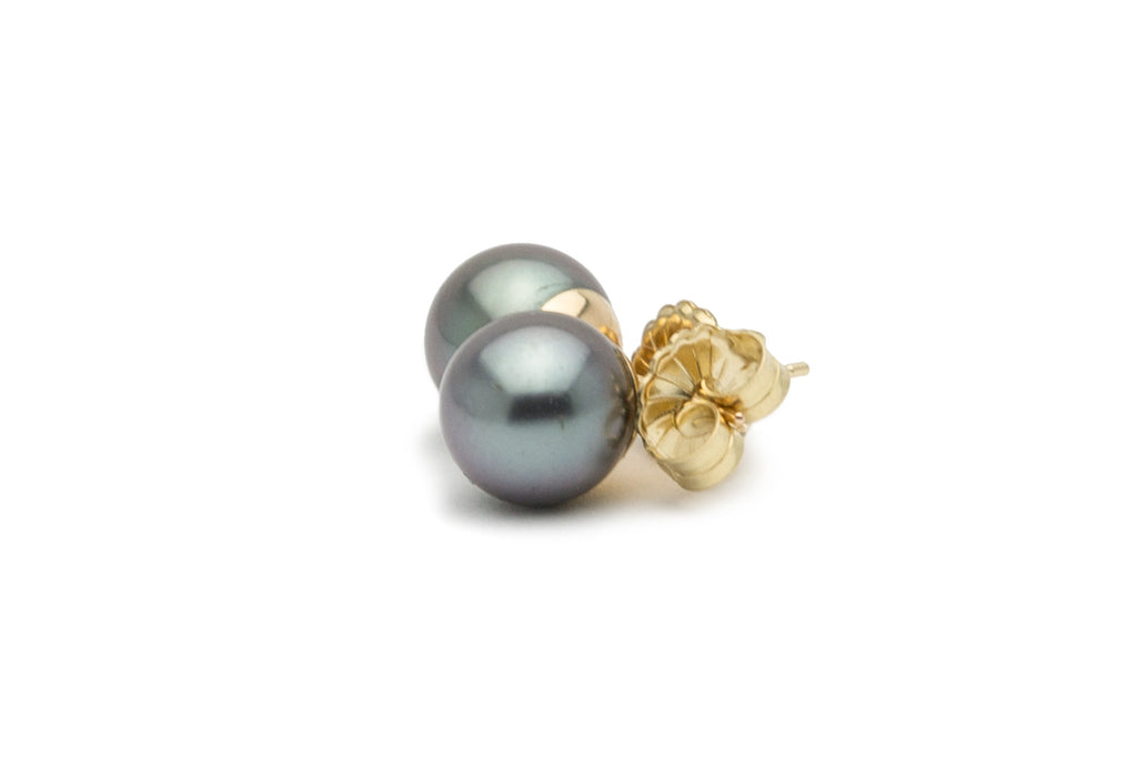 Silver lavender Tahitian pearl stud earrings