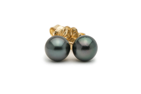 Dark blue green Tahitian pearl stud earrings on gold filled