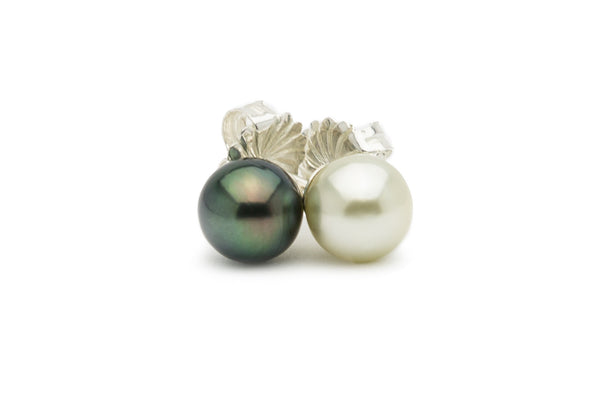 Black and white Tahitian pearl stud earrings