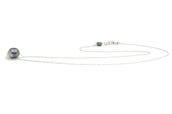 Banded multi-color Tahitian pearl solitaire necklace
