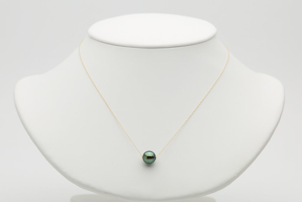 Bright green Tahitian pearl solitaire slider necklace