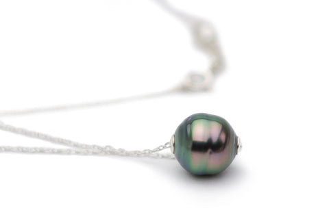 Tahitian circled pearl slider chain necklace