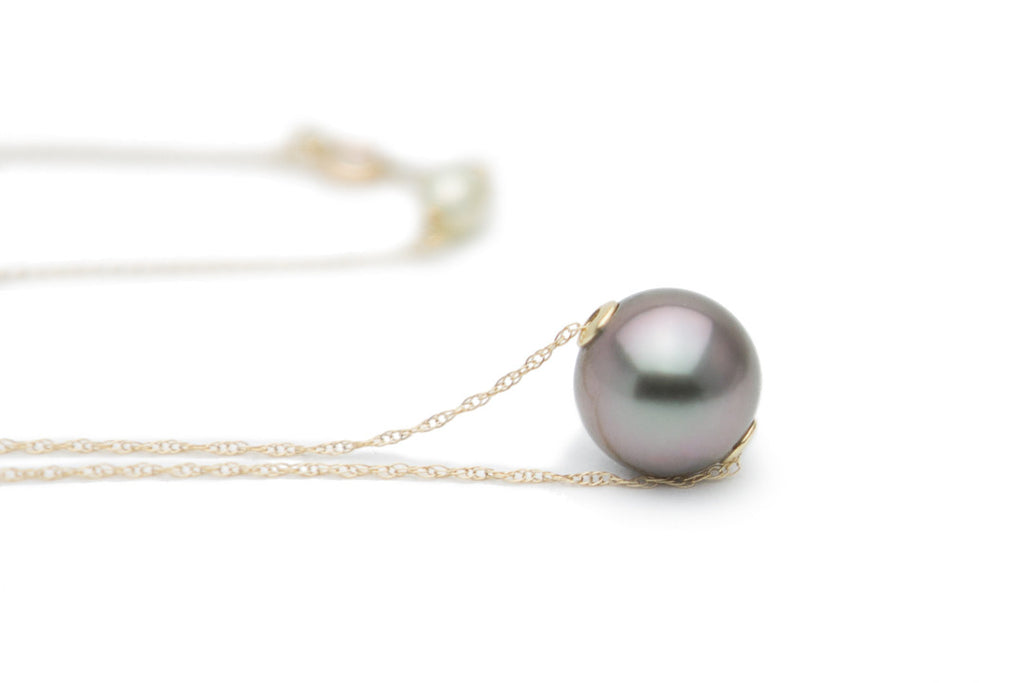Lavender purple Tahitian pearl slider chain necklace