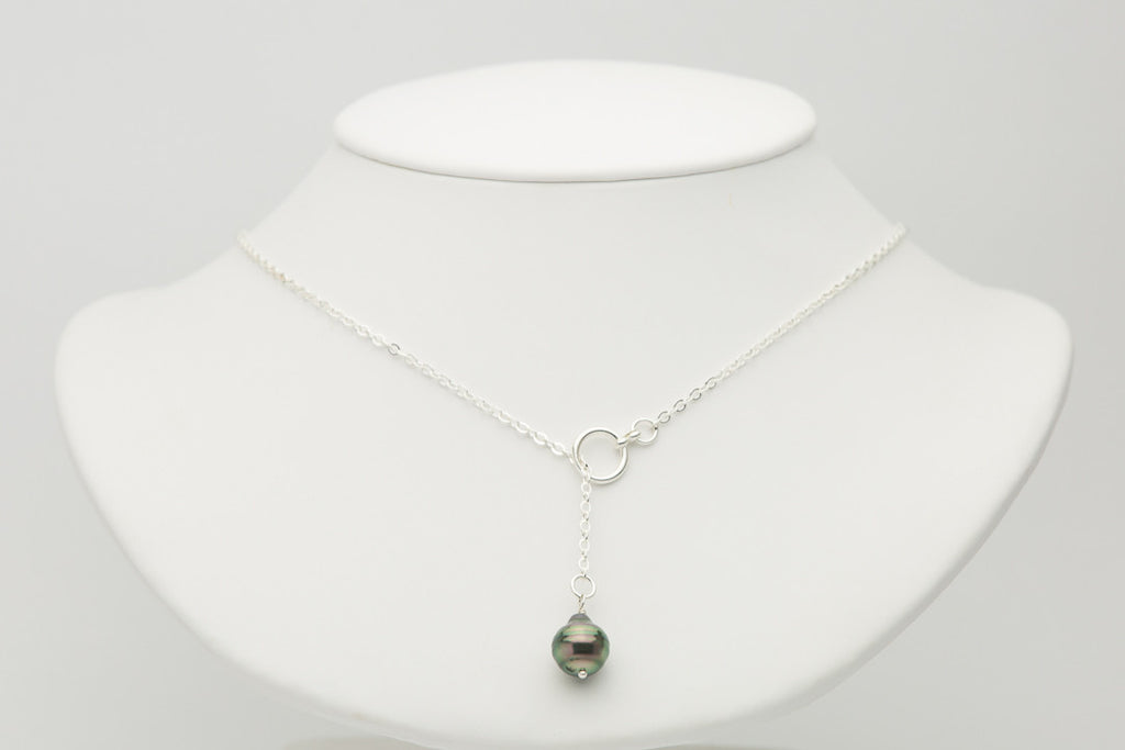 Circled green Tahitian pearl lariat chain necklace