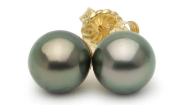 10mm green Tahitian pearl stud earrings