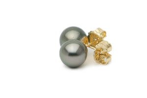 Silver green Tahitian pearl stud earrings