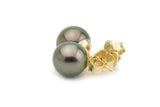Pink-Green Tahitian Pearl Stud Earrings