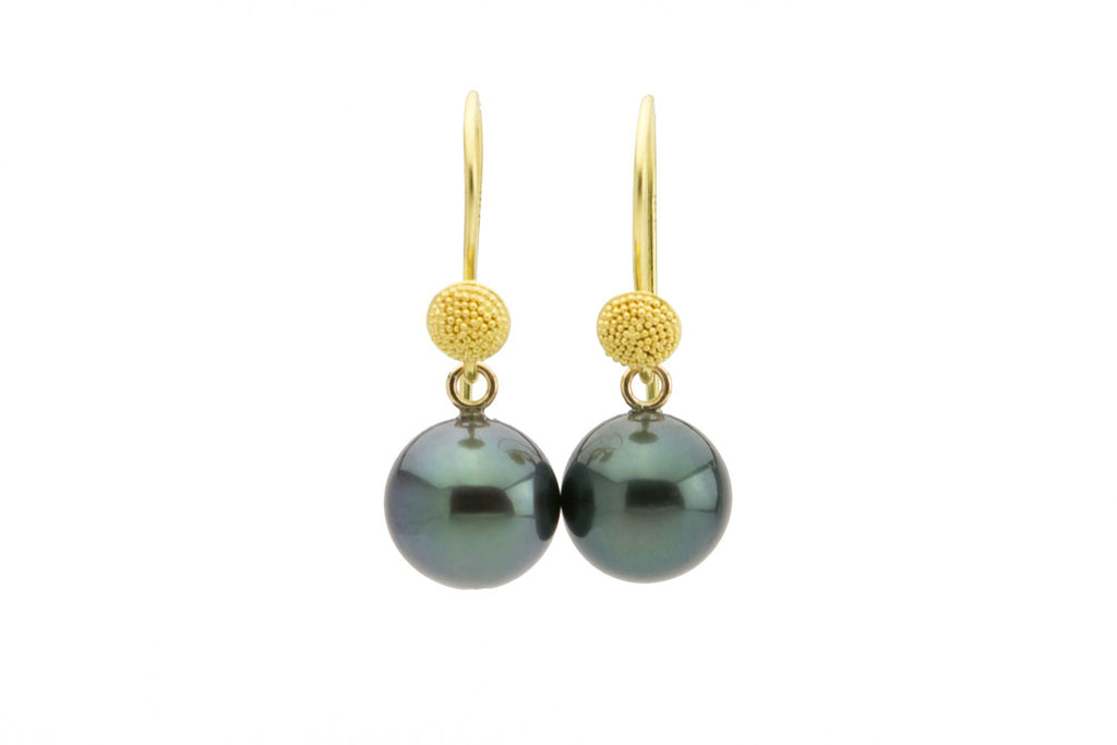 Tahitian Dark Blue-Green Bali Dangles