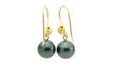 18K gold granulated Tahitian pearl dangle earrings