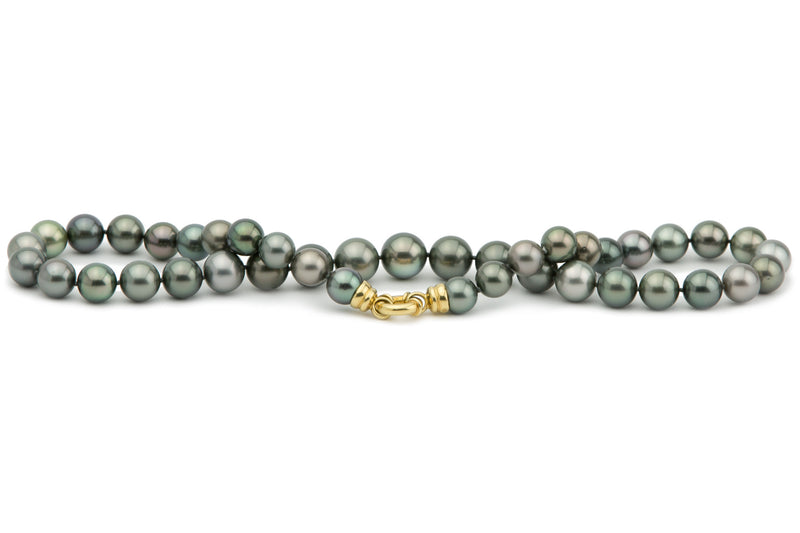 Blue green and silver Tahitian pearl strand necklace