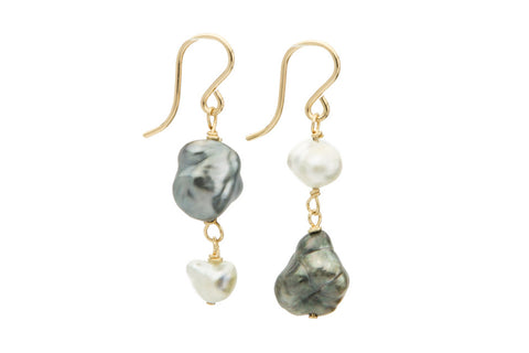 upside down Tahitian keshi pearl dangle earrings