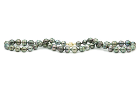 Lavender blue green Tahitian circled pearl necklace