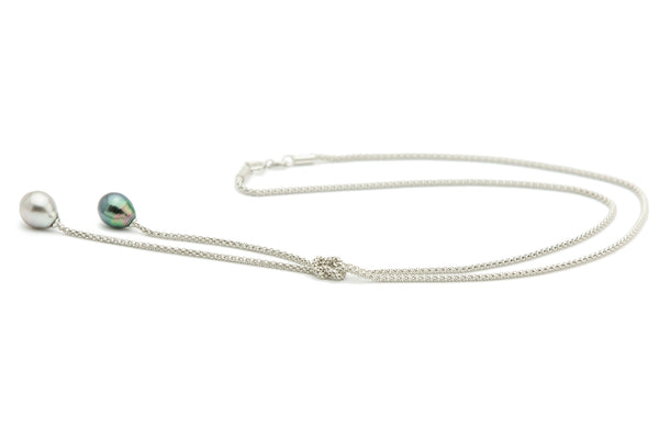 Knotted Double Tahitian Pearl Drop Chain Necklace