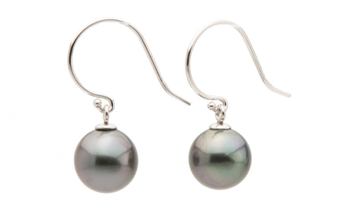 Silvery purple blue Tahitian pearl dangles on white gold