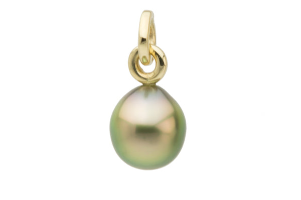 Golden green drop Tahitian pearl pendant