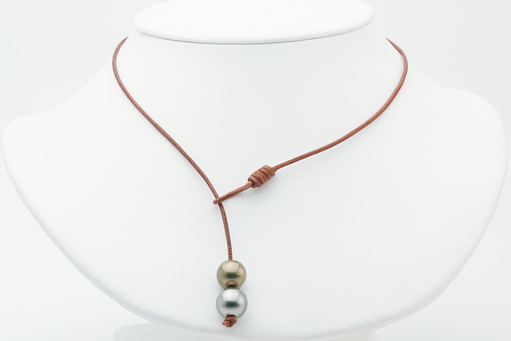 Double Tahitian Pearl & Leather Lariat
