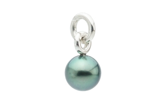 Bright green Tahitian pearl pendant on Sterling silver hoops