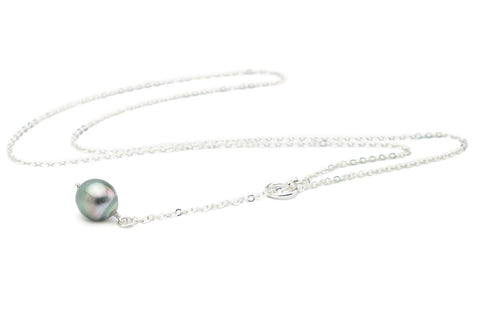 Pretty Pastel Green-Pink Tahitian Pearl Lariat Chain Necklace