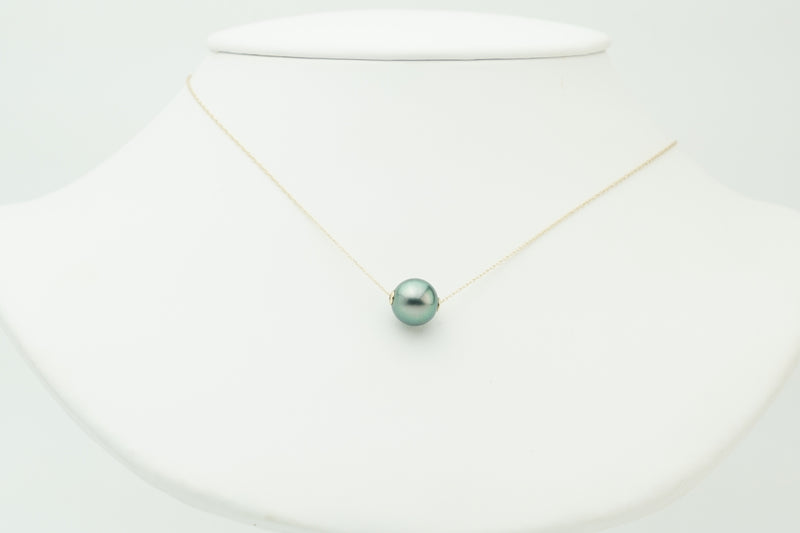 Green round Tahitian pearl slider 14K gold necklace