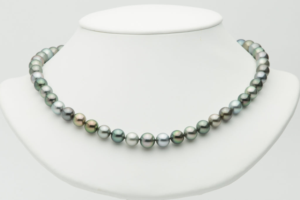 Multi-color 9mm Tahitian pearl round sem-round necklace strand