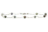 Tahitian pearl tin cup necklace on Sterling silver figaro