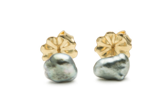 Silvery Pewter Tahitian Keshi Pearl Stud Earrings