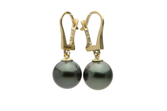 Tahitian pearl dark blue lever back dangle earrrings
