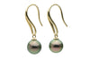 Pink green Tahitian pearl teardrop hook dangle earrings