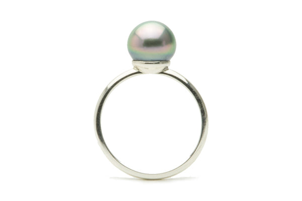 Pastel pink peacock Tahitian pearl ring on silver