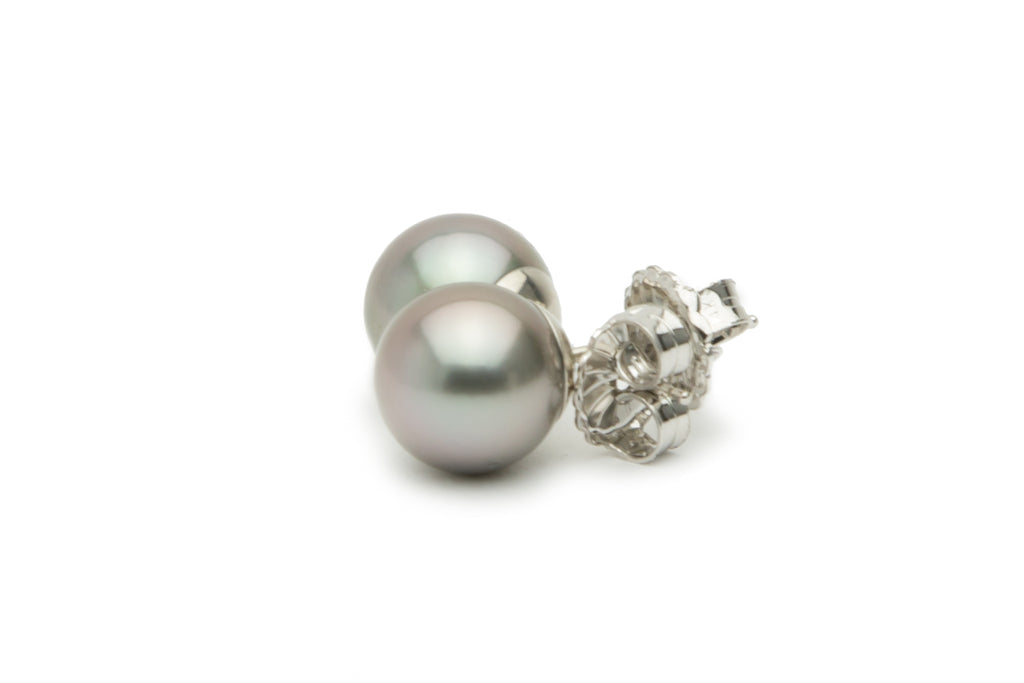 Light silver pink blue Tahitian pearl earrings on 14K white gold
