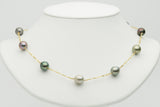 Multi color Tahitian pearl tin cup necklace
