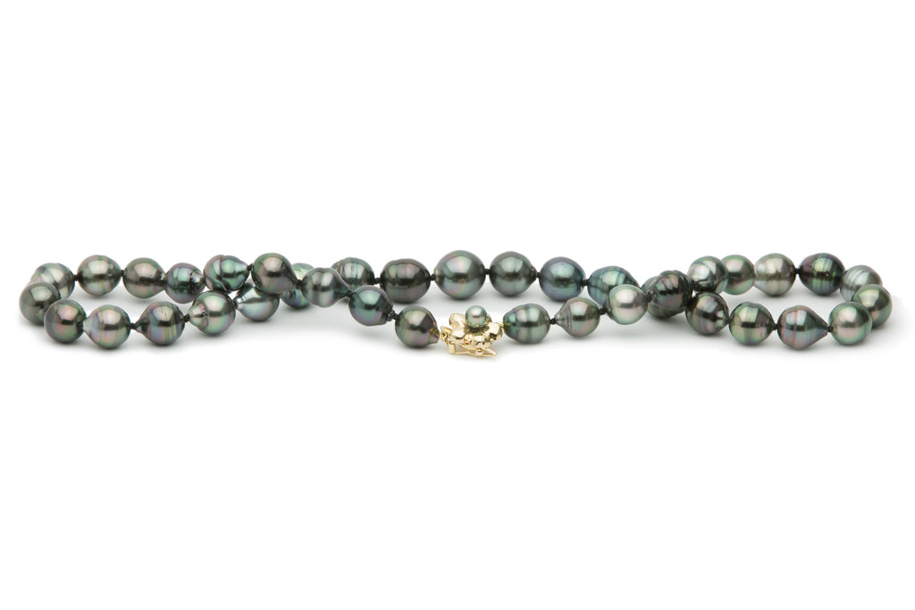 Dark multi-colored circled Tahitian pearl strand necklace
