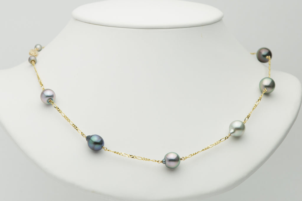 Tahitian pearl semi baroque tin cup necklace