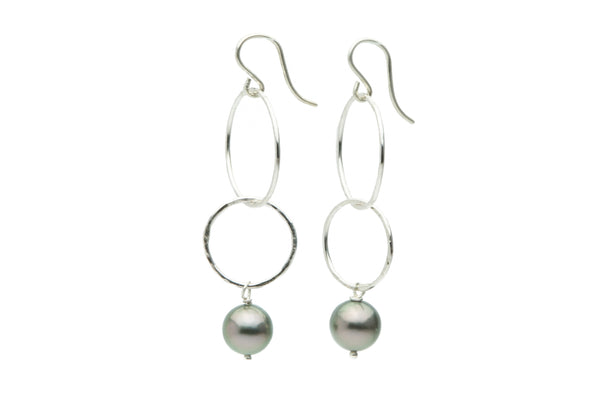 Pink green Tahitian pearl double hoop dangle earrings on silver
