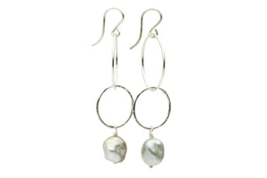 Tahitian keshi nugget pearl double hoop dangle earrings