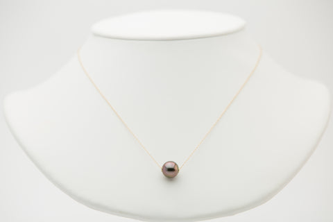 Bright pink Tahitian pearl slider floating chain necklace