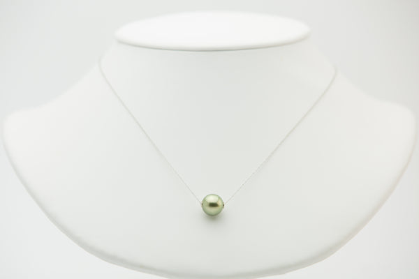 Golden Tahitian pearl on white gold slider chain necklace