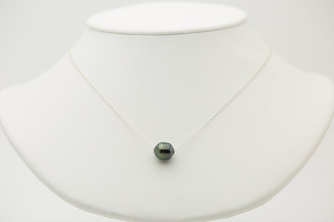 Dark Green Circles Tahitian Pearl Solitaire Necklace