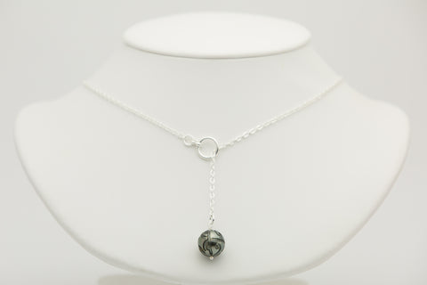 Carved Tahitian Pearl Lariat Chain Necklace