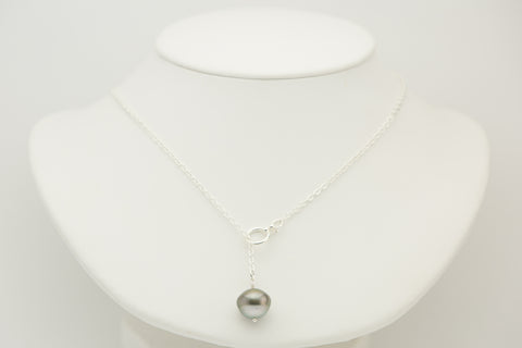 Flying saucer Tahitian pearl lariat necklace