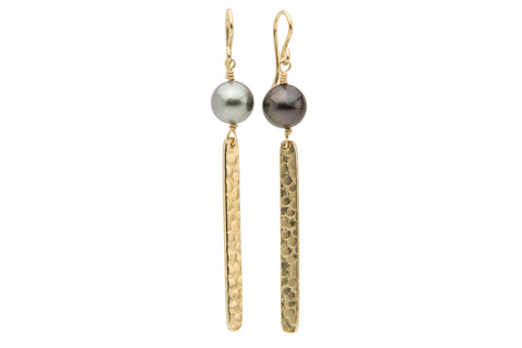Black and white Tahitian pearl gold bar dangles