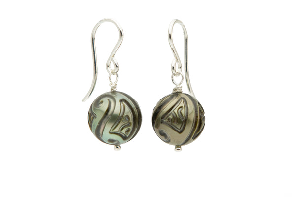 Carved tattoo Tahitian pearl dangle earrings on Sterling silver