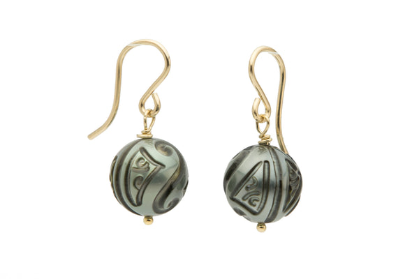 Carved Tahitian Pearl Gold-Filled Dangles