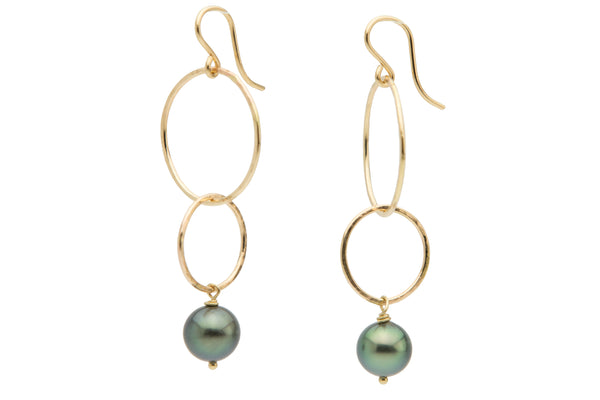 Green Tahitian pearl double hoop dangle earrings gold filled